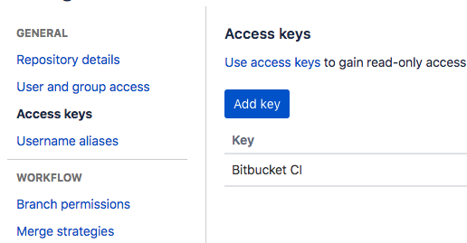 Add an access key for Bitbucket CI